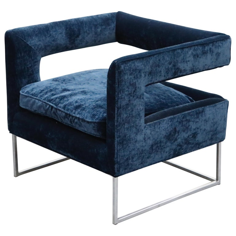 Floating Cubist Armchair by Flair for Bernhardt, Style of Milo Baughman, 1970s For Sale