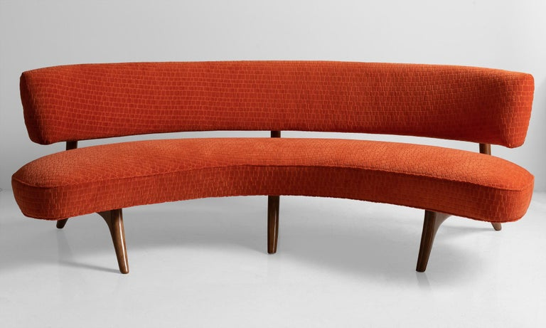 Model - 176SC sofa, originally designed in 1952. Textured orange velvet upholstery on cherry frame. Designer label present under seat.