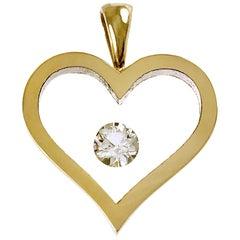 Floating Diamond Heart-Shaped Pendant, 14 Karat