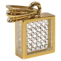Floating Diamond Pavé Pendant, 14 Karat