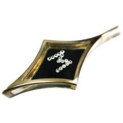 Floating Diamond Pendant, 14 Karat Letter M, circa 1970s