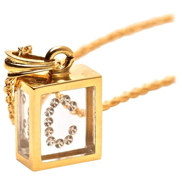 Floating Diamond Pendant 14 Karat Yellow Gold 'Letter C' For Sale