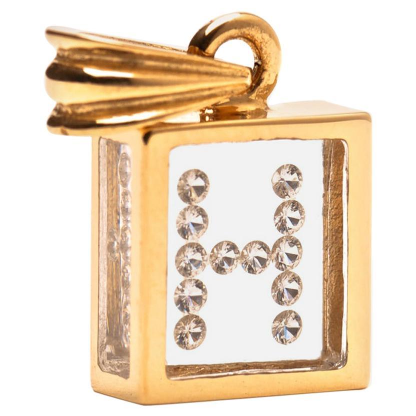 Floating Diamond Pendant, 14 Karat Yellow Gold 'Letter H'