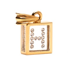 Floating Diamond Pendant, 14 Karat Yellow Gold 'Letter H'