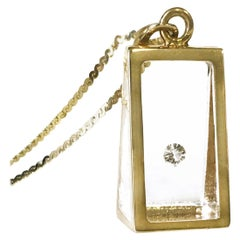 Floating Diamond Pyramid Pendant, 14 Karat