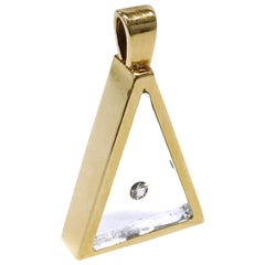 Floating Diamond Triangle Pendant, 14 Karat