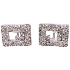 Floating Diamond and White Gold Cufflinks