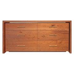 Floating Dresser in Solid American Walnut Brushed Brass by Mark Jupiter
