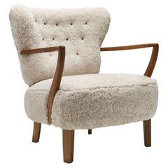 Floating Easy Chair by Otto Schulz in Sheepskin, Sweden, 1940s