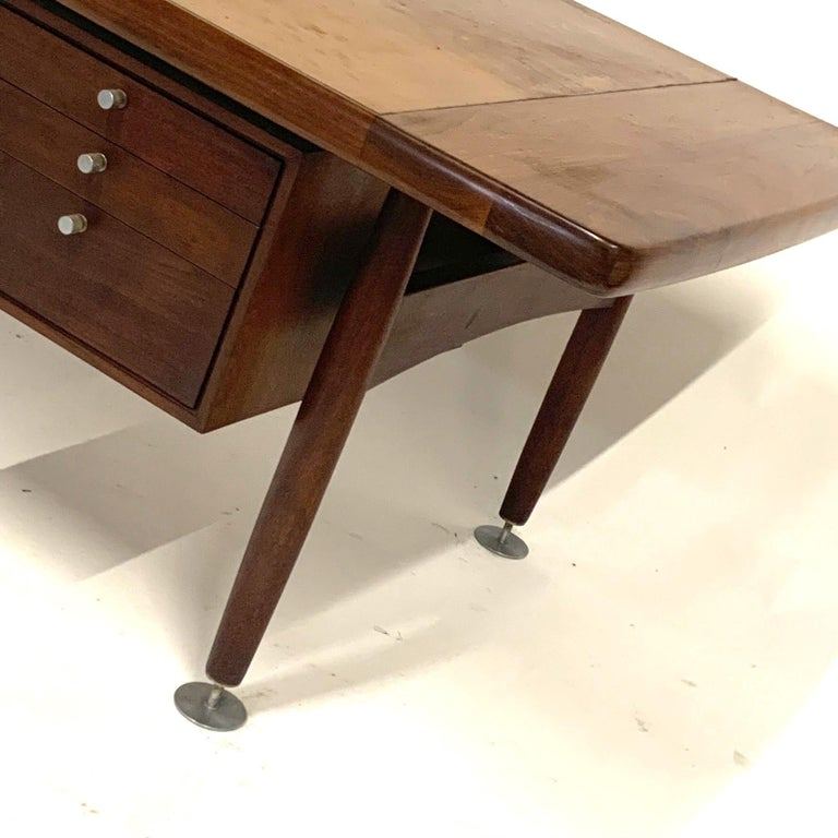 Floating Executive Walnut Desk w Leather Top & Steel Detail by Lehigh  For Sale 4