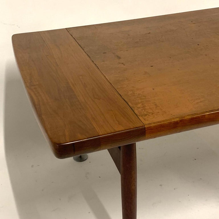Floating Executive Walnut Desk w Leather Top & Steel Detail by Lehigh  For Sale 6