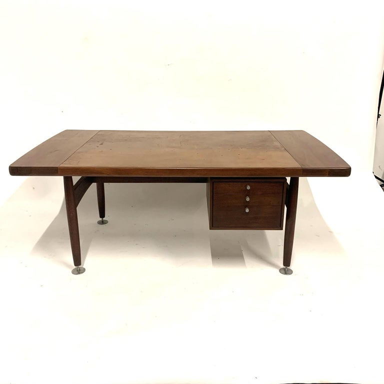 Floating Executive Walnut Desk w Leather Top & Steel Detail by Lehigh  For Sale 7