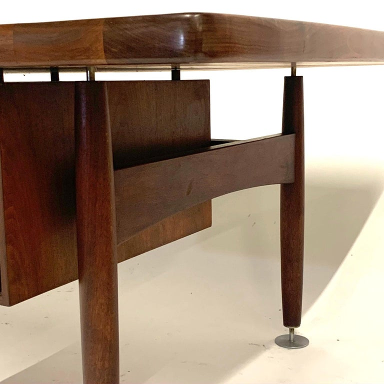 American Floating Executive Walnut Desk w Leather Top & Steel Detail by Lehigh  For Sale