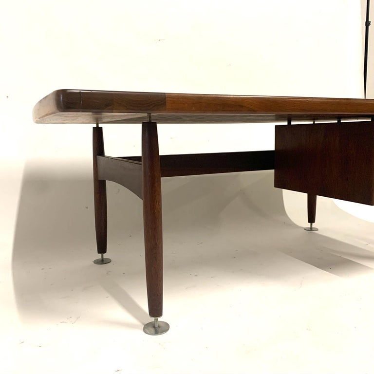 Mid-20th Century Floating Executive Walnut Desk w Leather Top & Steel Detail by Lehigh  For Sale