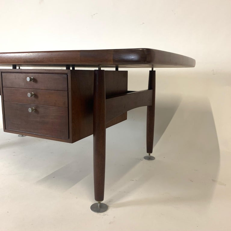 Floating Executive Walnut Desk w Leather Top & Steel Detail by Lehigh  For Sale 2