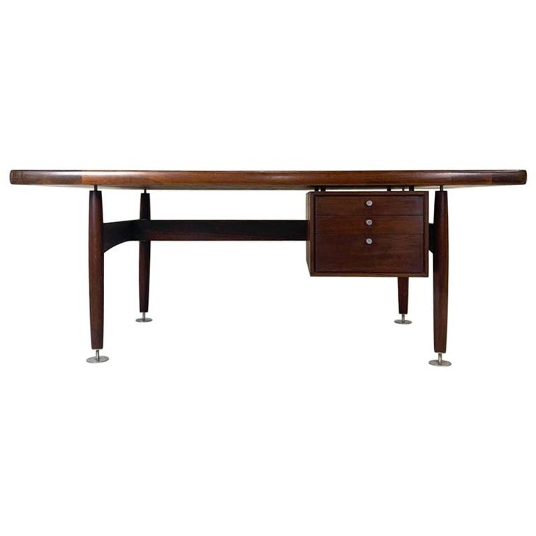 Floating Executive Walnut Desk w Leather Top & Steel Detail by Lehigh  For Sale