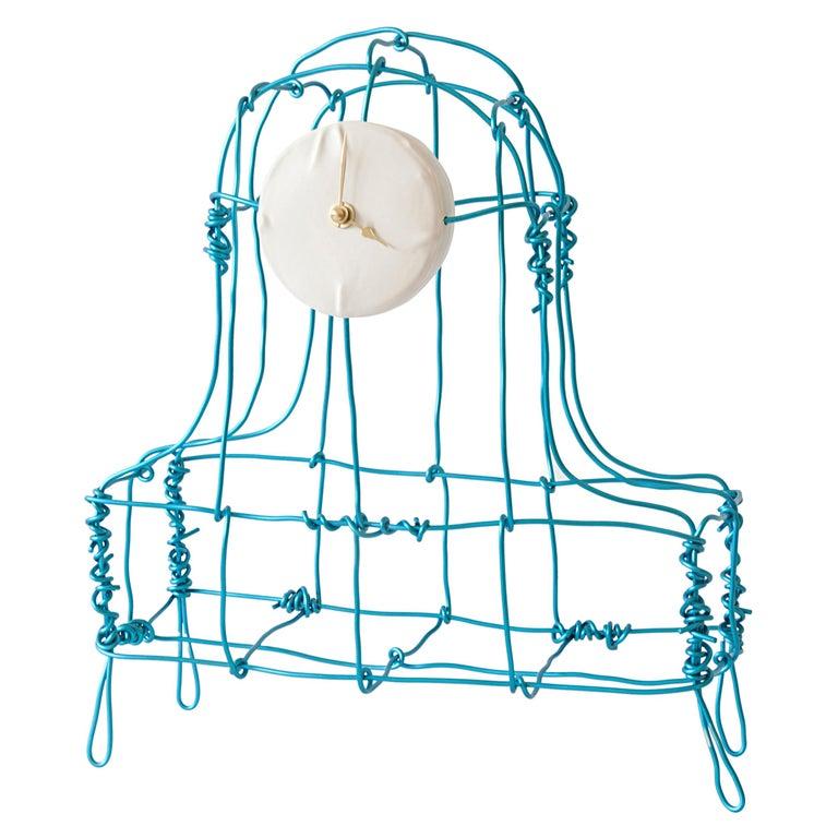 Floating Frames Mantel Clock Blue For Sale