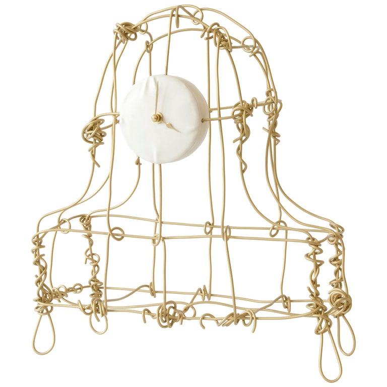 Floating Frames Mantel Clock Brass and Sandblasted For Sale