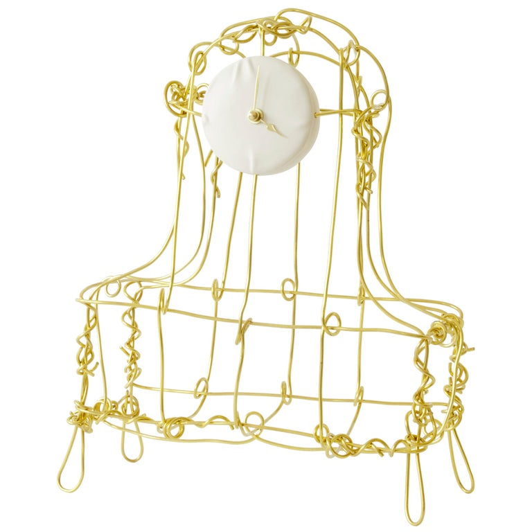 Floating Frames Mantelclock Brass For Sale