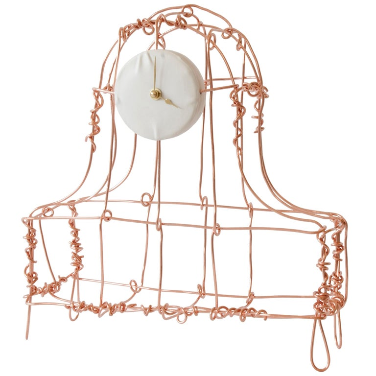 Floating Frames Mantelclock Copper For Sale