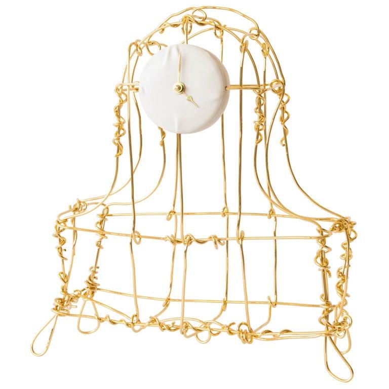 Floating Frames Mantelclock Gold 24-Karat For Sale