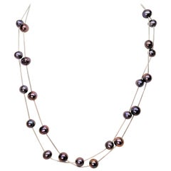 Floating Iridescent Akoya Pearl White Gold Necklace Duo