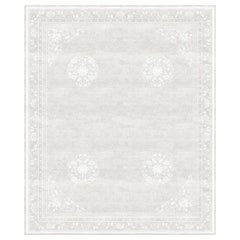 Floating Lotos Cloud White Hand Knotted Wool and Silk Rug