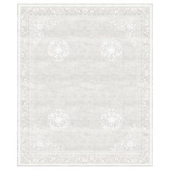Floating Lotus Cloud White Hand Knotted Wool and Silk Rug