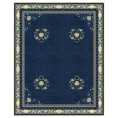 Floating Lotus River Blue, Floral Luxury Hand Knotted Wool Silk Rug