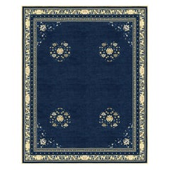 Floating Lotus River Blue - Floral Luxury Hand Knotted Wool Silk Rug
