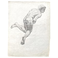 """Floating Man,"" Study for Ceiling Mural with Male Nude by Allyn Cox, 1920s"