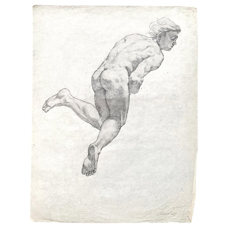 """""""Floating Man,"""" Study for Ceiling Mural with Male Nude by Allyn Cox, 1920s For Sale"""