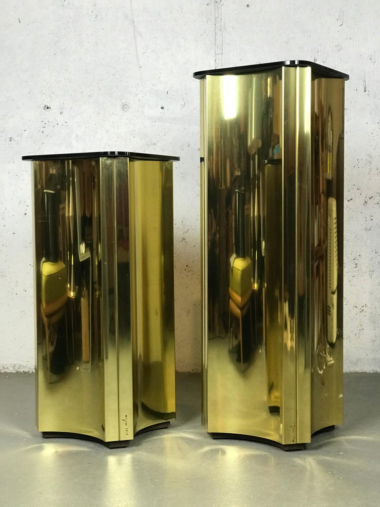 Floating Pedestals in Brass and Smoked Glass by Curtis Jere Signed For Sale 12