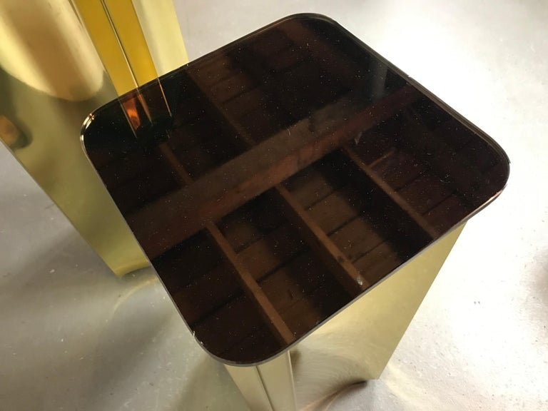 Modern Floating Pedestals in Brass and Smoked Glass by Curtis Jere Signed For Sale