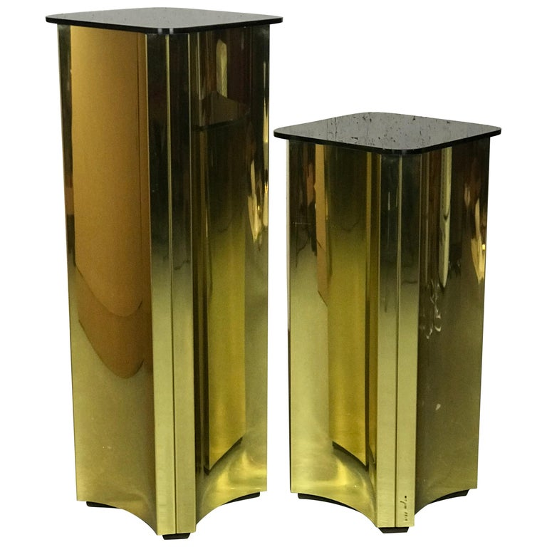 Floating Pedestals in Brass and Smoked Glass by Curtis Jere Signed For Sale