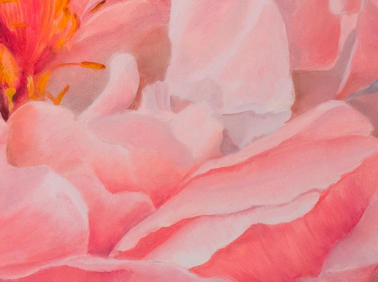 A display of peonies at the Malvern spring show provided the inspiration for this painting. The prize peony was floating in a silver bowl of water providing a beautifully delicate background idea for the painting.  Nicola has developed her work in