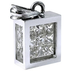 Floating Princess-Cut Diamond Pavé Pendant, 14 Karat