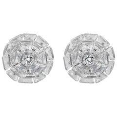 11.92 Carat Floating Rose cut & Round Diamond Stud Earrings, 18K White Gold