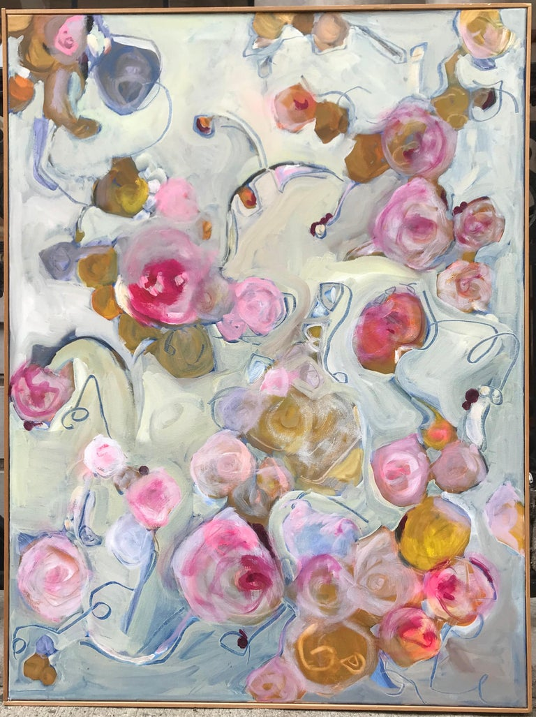 Floating roses, 2018. Contemporary oil on canvas