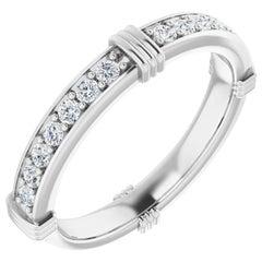 Floating Round Brilliant Diamonds Wedding Eternity Band 18 Karat White Gold