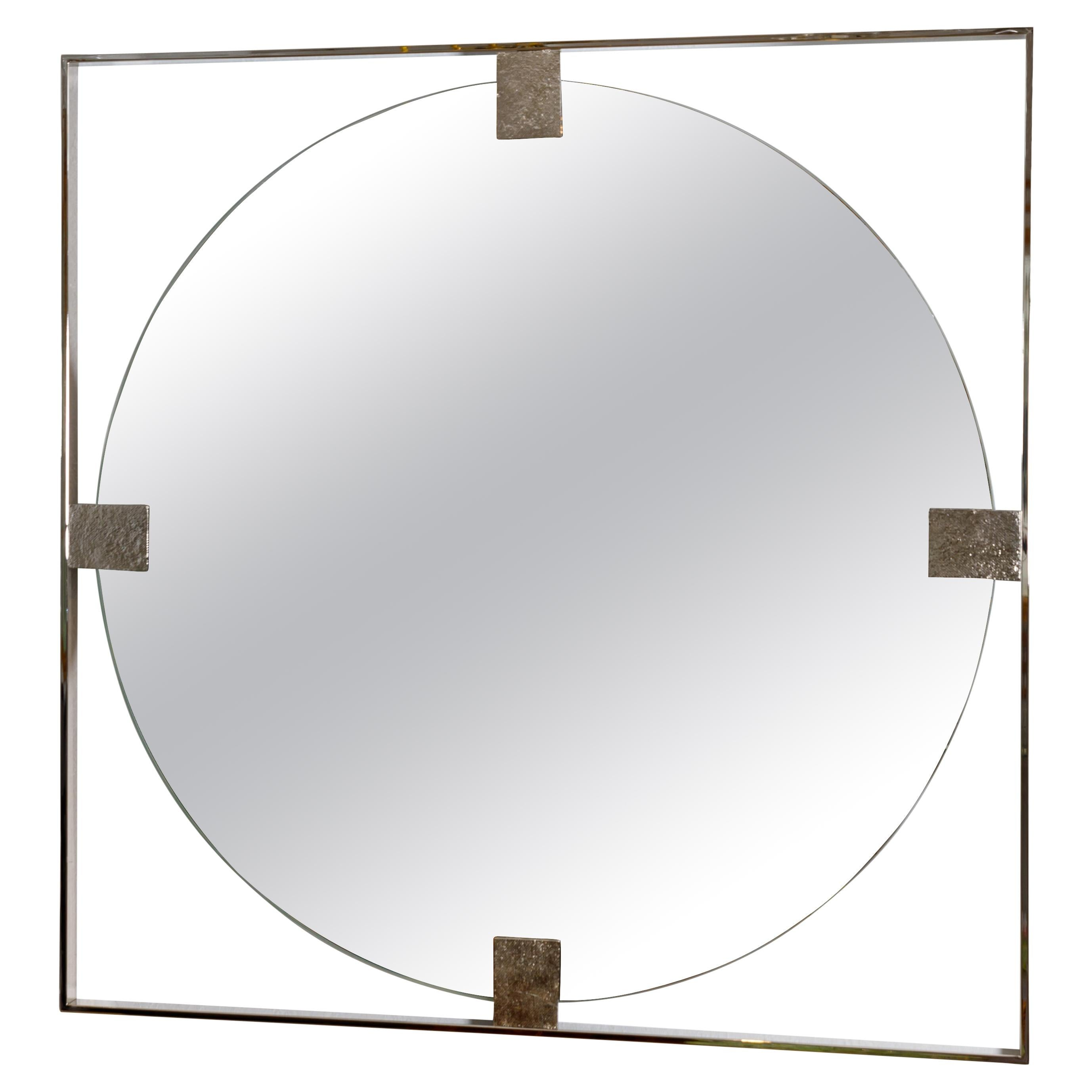 Floating Round Mirror with Nickel Surround and Embossed Detail