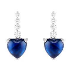 Floating Sapphire Heart and Diamond Earrings