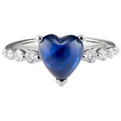 Floating Sapphire Heart and Diamond Ring