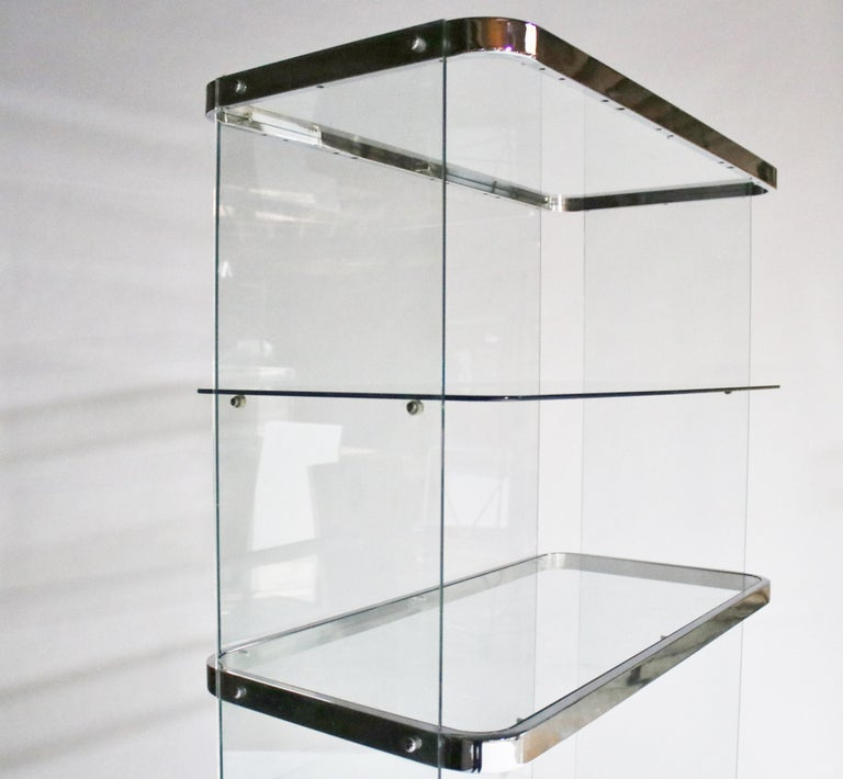 Floating Steel and Glass Etageres For Sale 5