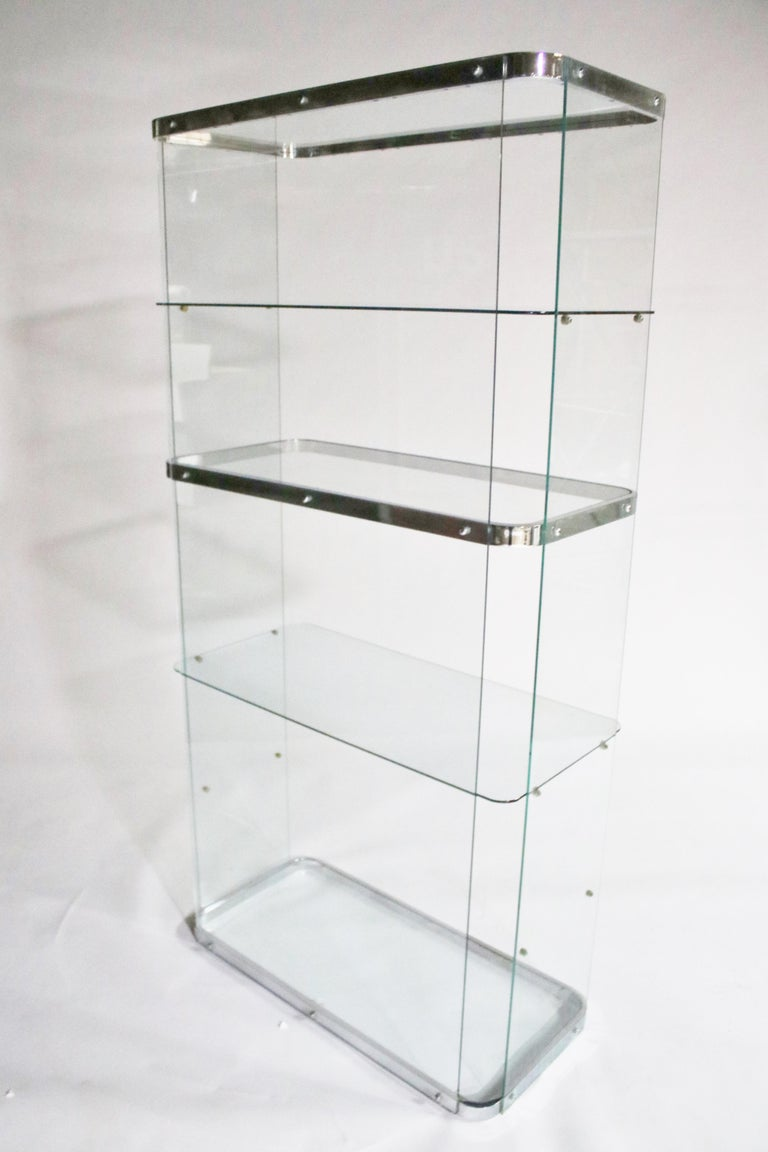 Floating Steel and Glass Etageres For Sale 1
