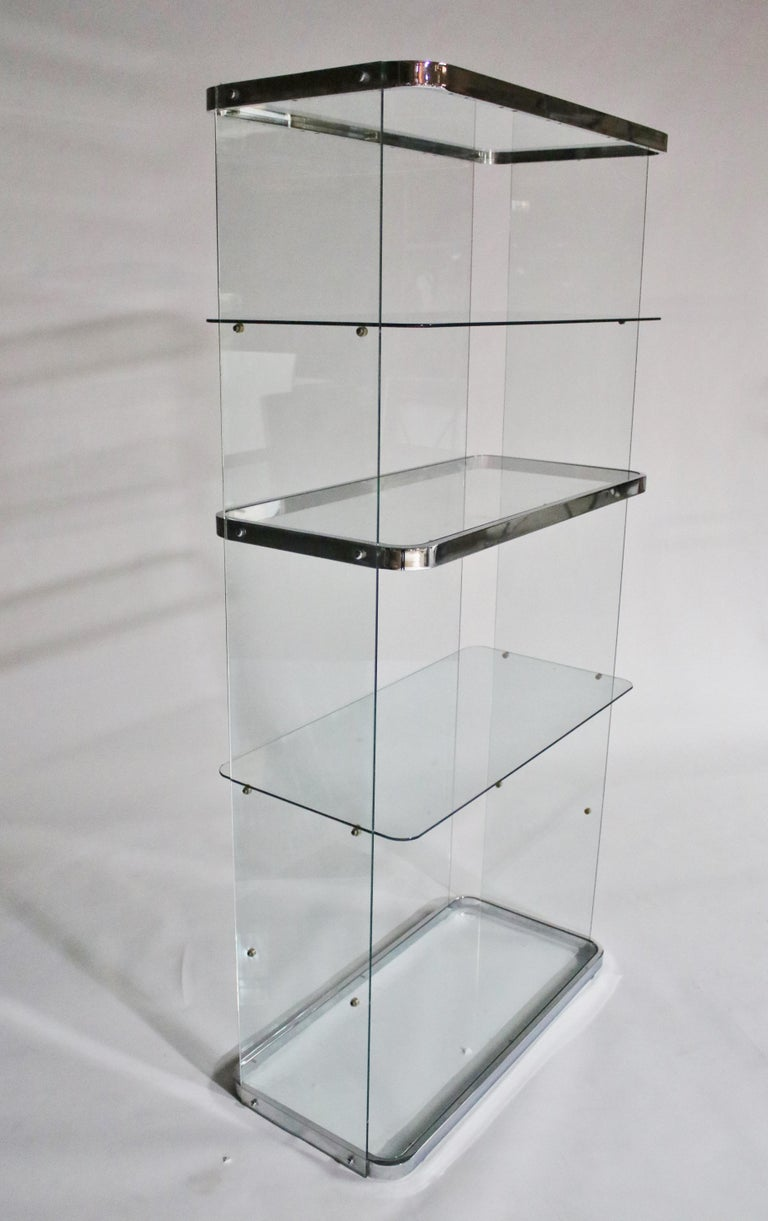 Floating Steel and Glass Etageres For Sale 3
