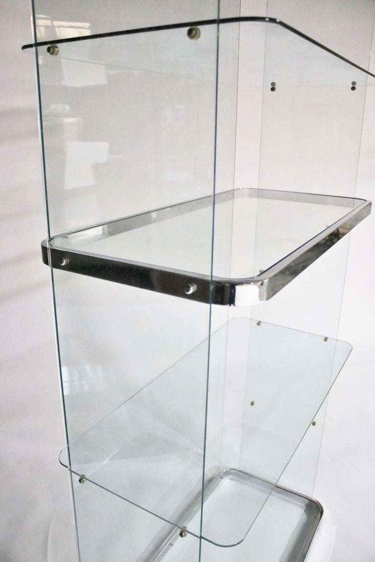 Floating Steel and Glass Etageres For Sale 4