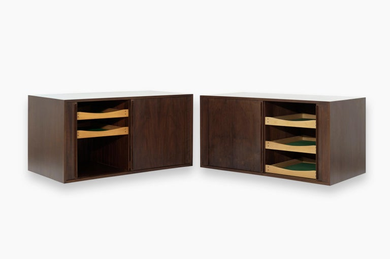 Floating Tambour Door Cabinets by Jorgen Clausen, Denmark, 1950s In Excellent Condition For Sale In Stamford, CT
