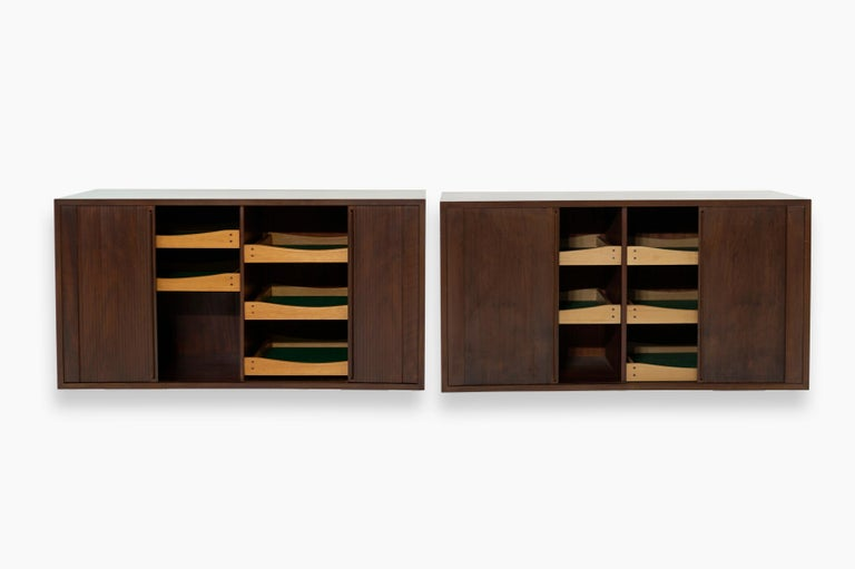 20th Century Floating Tambour Door Cabinets by Jorgen Clausen, Denmark, 1950s For Sale