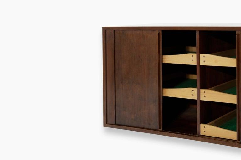 Floating Tambour Door Cabinets by Jorgen Clausen, Denmark, 1950s For Sale 1